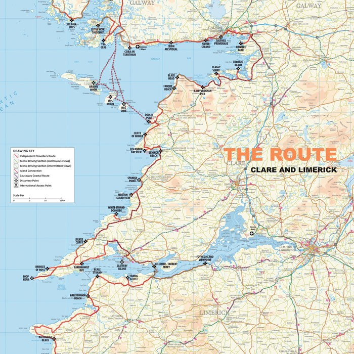 Map Of The Burren Ireland.Wild Atlantic Way Visit The Burren