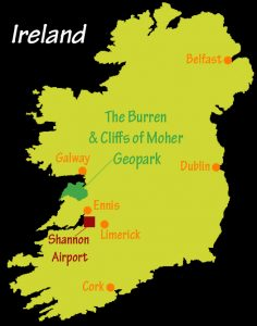 Map Of The Burren Ireland.Map Of Ireland Visit The Burren
