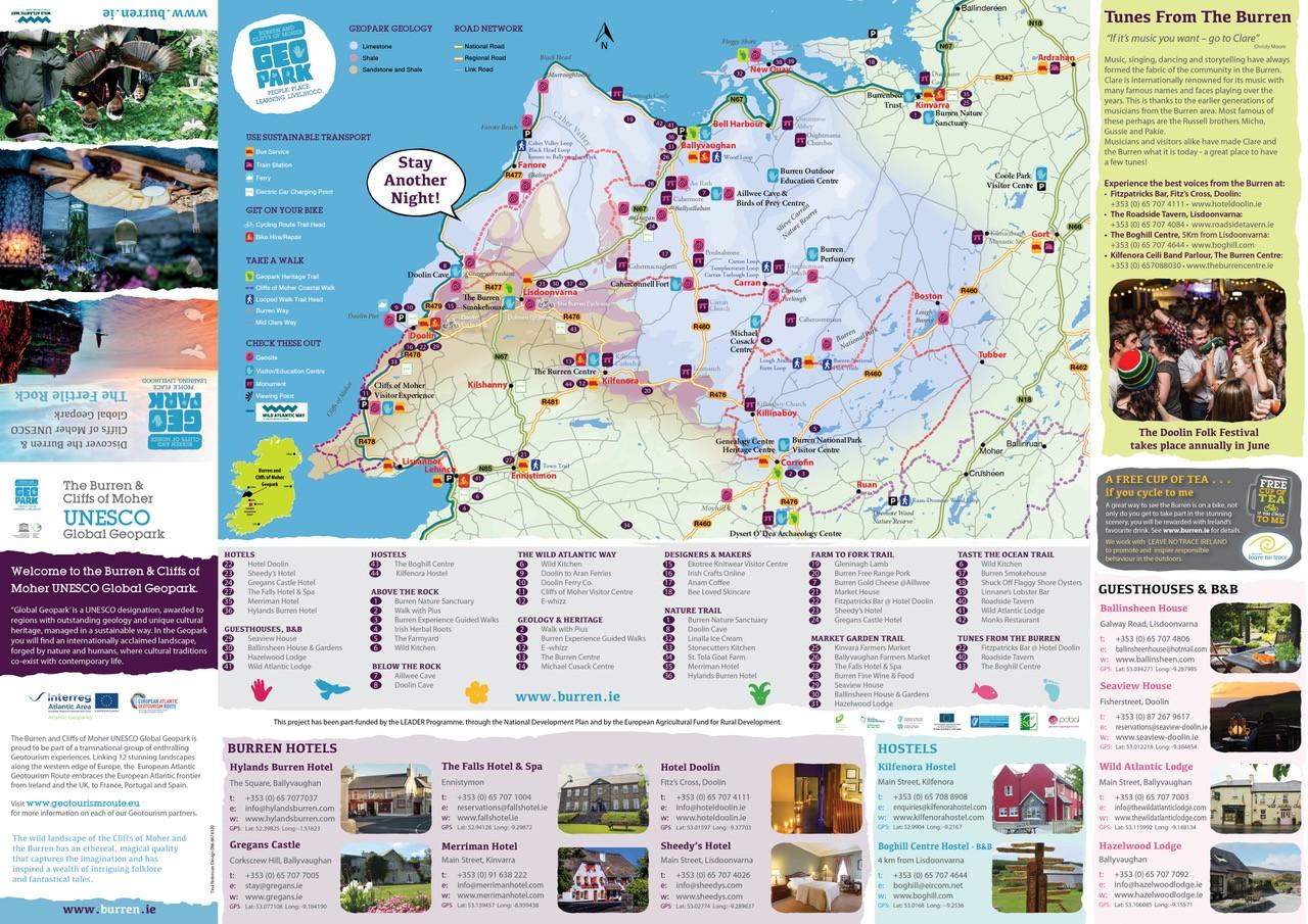 Map Of The Burren Ireland.Plan Your Visit Visit The Burren